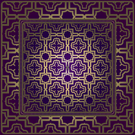 Design Of A Scarf With A Geometric Pattern . For Tablecloth, Fabric, Covers, Scrapbooking, Bandana, Pareo, Shawl. Vector Illustration. Purple, gold color. Ilustración de vector