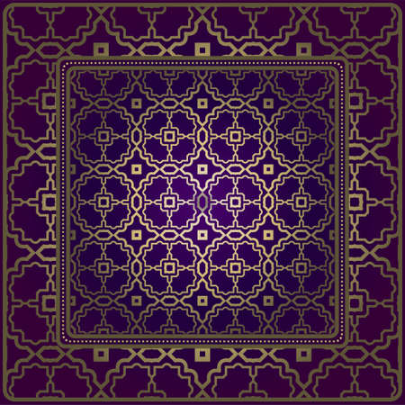 Decorative Ornament With Geometric Decoration. Symmetric Pattern . For Print Bandanna, Shawl, Tablecloth, Fabric Fashion, Scarf, Design. Purple, gold color.