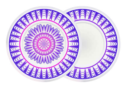 Set of 2 matching decorative plates for interior design with mandala floral ornament. Empty dish, porcelain plate mock up design. Vector illustration. Purple gradient color.