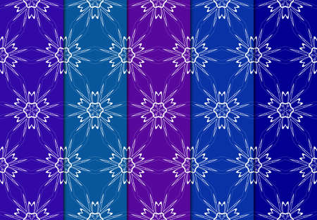 Set of Seamless Decorative Colorful Geometric Ornament. Symmetric Pattern With Lace Frame. Vector Illustration.