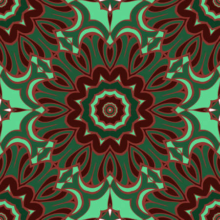 Seamless floral ornament. Military style color. Vector illustration.