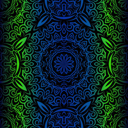 Mandala Seamless Floral Pattern. Design For Square Fashion Print. Vector Illustration. Blue, green color Ilustrace