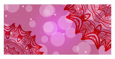 Pink, purple color banner with mandala ornament. Vector illustration. For web design, flyer