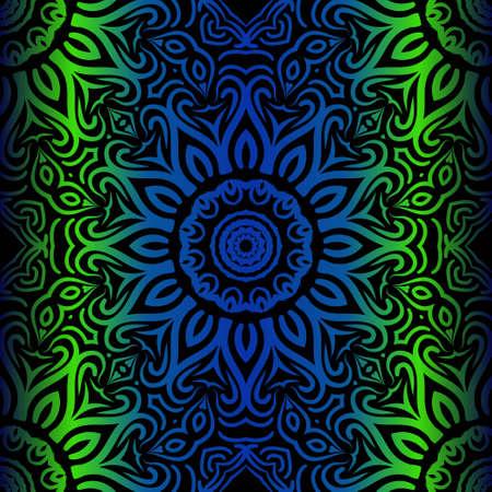 Mandala Seamless Floral Pattern. Design For Square Fashion Print. Vector Illustration. Blue, green color Foto de archivo - 125997505