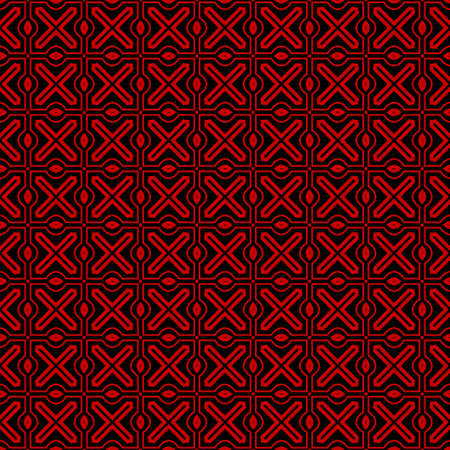 Ethnic classic pattern. Seamless vector illustration. Abstract geometric repeat backdrop. For decoration, wallpaper, print, fabric. Black, red color.