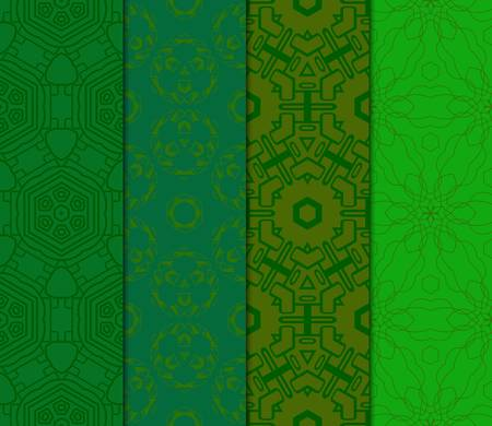 Set of Abstract Vector Seamless Pattern With Abstract Floral And Leave Style.Green color. For Modern Interiors Design, Wallpaper, Textile Industry