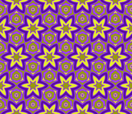 Floral Geometric Seamless Pattern With Geometric Ornament. Vector Illustration. For Fabric, Textile, Bandana, Scarg, Colored Print. Purple, yellow color.