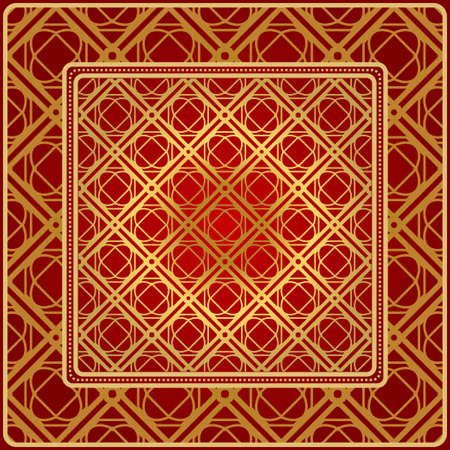 Fashion Design Print With Geometric Pattern. Vector Illustration. For Modern Interior Design, Fashion Textile Print, Wallpaper. Red, golden color. Vettoriali