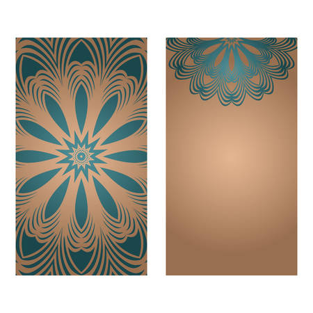 Card Template With Floral Mandala Pattern. Business Card For Fitness Center, Sport Emblem, Meditation Class. Vector Illustration Foto de archivo - 115709877