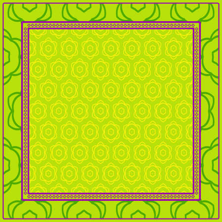 Geometric Pattern With Hand-Drawing Floral Ornament. Vector Illustration. For Fabric, Textile, Bandana, Scarg, Print. Green, yellow color.