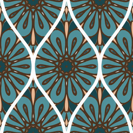 Seamless Texture Of Floral Ornament. Vector Illustration. For The Interior Design, Printing, Web And Textile