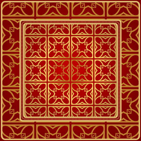 Background, Geometric Pattern With Ornate Lace Frame. Illustration. For Scarf Print, Fabric, Covers, Scrapbooking, Bandana, Pareo, Shawl. Red golden color Ilustración de vector