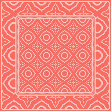 Background, Geometric Pattern With Ornate Lace Frame. Illustration. For Scarf Print, Fabric, Covers, Scrapbooking, Bandana, Pareo, Shawl. Pink color.
