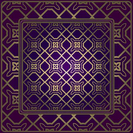 Decorative Ornament With Geometric Decoration. Symmetric Pattern . For Print Bandanna, Shawl, Tablecloth, Fabric Fashion, Scarf, Design. Purple, gold color.