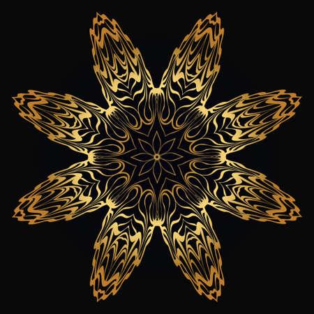 Modern Decorative Floral Gold Color Mandala. Super Vector Round Shapes. Vector Illustration