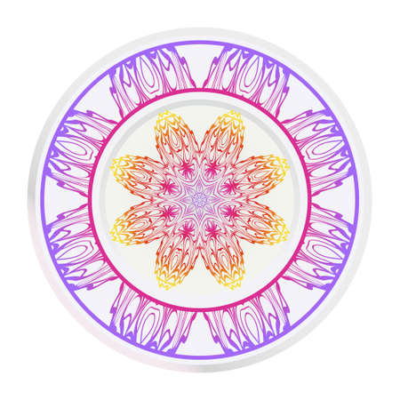 Mandala floral ornament. Decorative plates with Mandala ornament patterns. Home decor background. Vector illustration. Purple, yellow color. Illustration