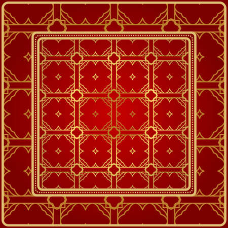 Background, Geometric Pattern With Ornate Lace Frame. Illustration. For Scarf Print, Fabric, Covers, Scrapbooking, Bandana, Pareo, Shawl. Red golden color