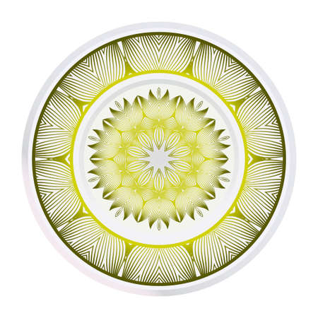 plate with mandala ornament. Vector illustration. Isolated. Tribal ethnic ornament with mandala. Home decor vector illustration