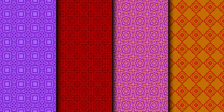 Set Of Modern Floral Seamless Pattern. Decorative Texture For Wallpaper, Invitation, Fabric. Vector Illustration. Color. Red color.