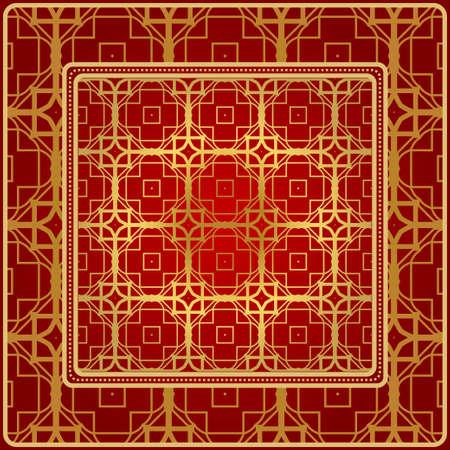 Fashion Design Print With Geometric Pattern. Vector Illustration. For Modern Interior Design, Fashion Textile Print, Wallpaper. Red, golden color.