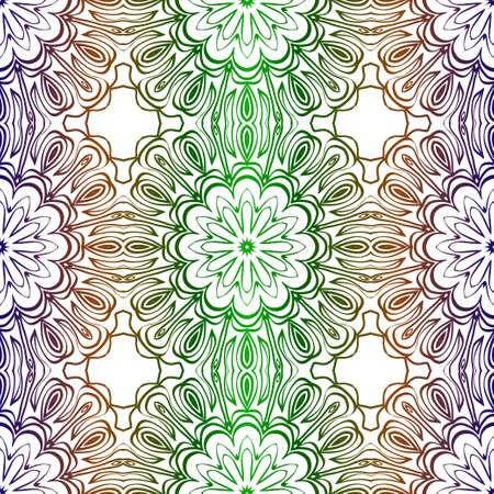 Traditional Ornamental Floral Pattern For Fashion Print. Ethnic Mandala Decoration. Blue, green color. Vector illustration.