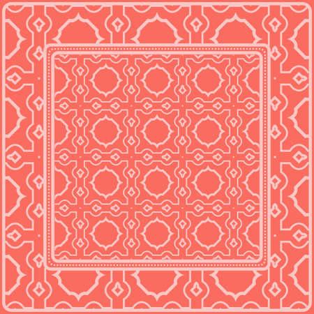 Fondo, patrón geométrico con marco de encaje adornado. Ilustración. Para estampado de bufanda, tela, fundas, scrapbooking, bandana, pareo, chal. Color rosa.