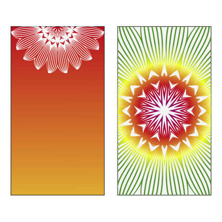Set of two Indian country mandala ornament concept flyer. Ethnic design, on festive and background. Vector background. Card or invitation. Islam, arabic, indian, ottoman motifs. Summer color.
