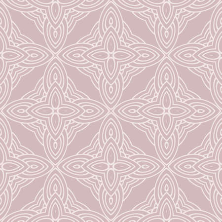 Seamless geometric pattern in florral style. Simple fashion fabric print. Vector repeating tile texture. Beige color.