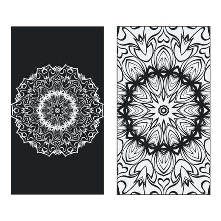 two Yoga card, flyer, poster. Template with mandala for spiritual retreat or yoga studio. Business cards, oriental pattern. Vector illustration. Islam, arabic, indian, ottoman motifs. Black, white.