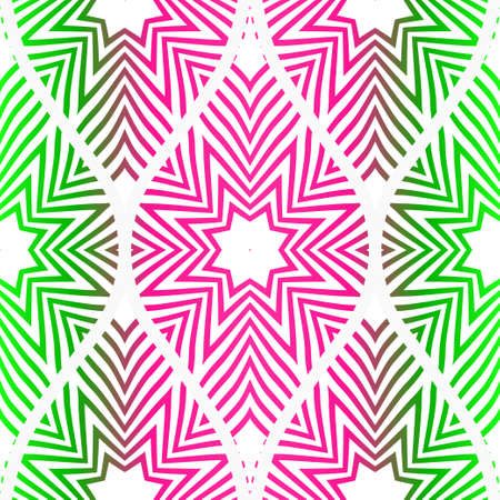 Pink, green color vector illustration. Easy festive ornament from abstract flower in the style of geometric . For fashion print, interior design, backgrounds, greeting cards, design. Seamless