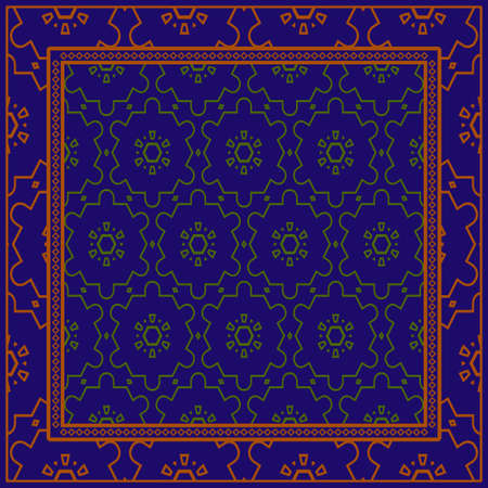 Decorative Ornament With Geometric Decoration. Symmetric Pattern . For Print Bandanna, Shawl, Tablecloth, Fabric Fashion, Scarf, Design. Dark blue, brown color
