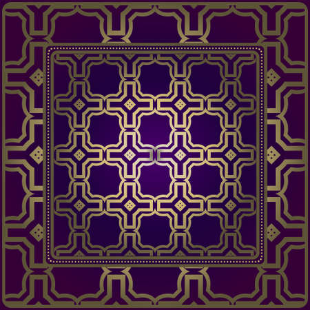 Design Of A Scarf With A Geometric Pattern . For Tablecloth, Fabric, Covers, Scrapbooking, Bandana, Pareo, Shawl. Vector Illustration. Purple, gold color.