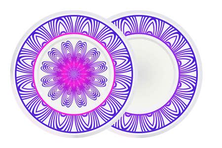 Set of 2 matching decorative plates for interior design with mandala floral ornament. Empty dish, porcelain plate mock up design. Vector illustration. Purple gradient color.