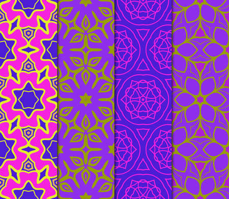 Set of Abstract Repeat Backdrop With Lace Floral Ornament. Seamless Design For Prints, Textile, Decor, Fabric. Super Vector Pattern. Blue, purple, orange color.