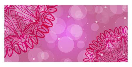 Pink, purple Color ornamental ethnic banner. Templates with doodle tribal mandalas. Vector illustration for design. Illustration