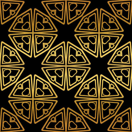 Luxury Geometric Pattern with art deco ornament. Seamless Vector Lines. Golden color on black background.