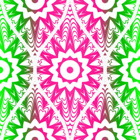 Seamless floral pattern in ethnic style. Decorative mandala element. Elegant design. Vector illustration. Pink, green color.