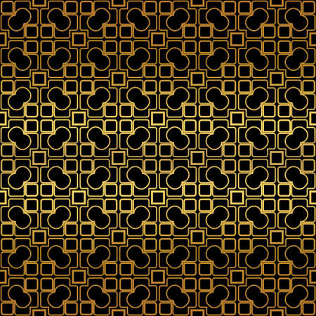 Golden color seamless retro geometric background. Vector illustration.