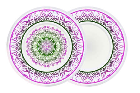 Design Plates for interior design. Porcelain plate with mandala ornament. Vector illustration. Isolated. Round geometric floral pattern. Interior decoration, home decor element. Purple green color.