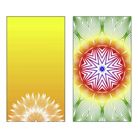 Two Yoga card, flyer, poster. Template with mandala for spiritual retreat or yoga studio. Oriental pattern. Vector illustration. Islam, arabic, indian, ottoman motifs. Green, red, yellow color.