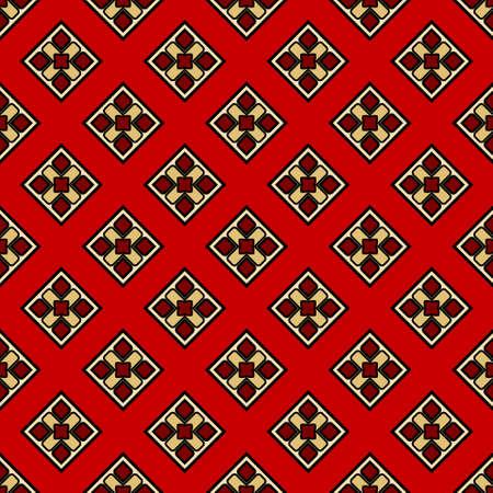 Luxury background with decorative geometric ornament. Retro creative design. Vector illustration. Fashion print, design for scrapbooking page, art deco, interior design. Red, gold color.