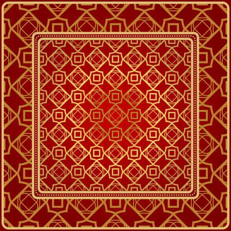 Fashion Design Print With Geometric Pattern. Vector Illustration. For Modern Interior Design, Fashion Textile Print, Wallpaper. Red, golden color. Illustration