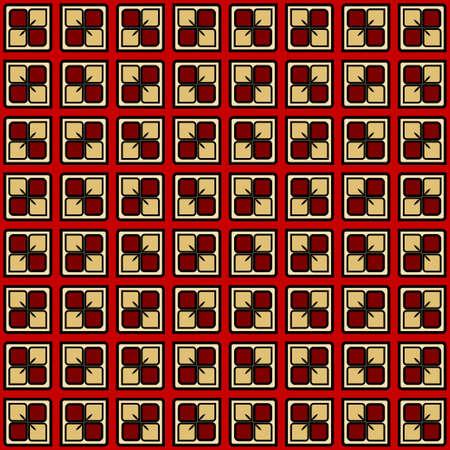 Luxury background with decorative geometric ornament. Retro creative design. Vector illustration. Fashion print, design for scrapbooking page, art deco, interior design. Red, gold color. Banque d'images - 125849355