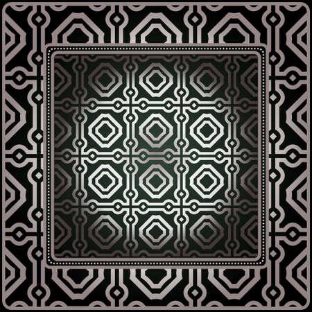 Geometric Ornament With Frame, Border. Art-Deco Background. Bandanna, Shawl, Scarf, Tablecloth Design. 일러스트