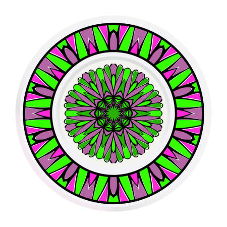 Decorative round plate with mandala from floral elements. Vector illustration. Home decor, interior design.