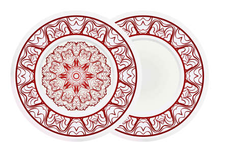 Set of 2 matching decorative plates for interior design. Porcelain plate with mandala ornament. Vector illustration. Isolated. Round geometric floral pattern. Interior decoration, home decor element. Illustration