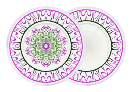 Mandala floral ornament for Decorative plates interior design. Empty dish, porcelain plate mock up design. Vector illustration. Home decor background. Purple, geen color.