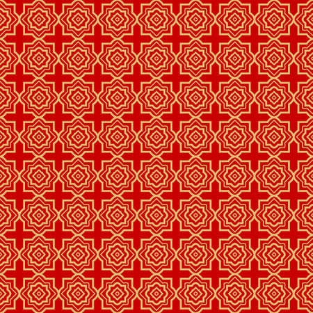 Repeating Geometric Pattern with Triangle, Zig Zag. Vector Background, Texture. For Design Invitation, Interior Wallpaper, Cover Card, Technologic Design. rED GOLD COLOR Illustration