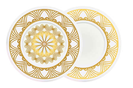 Set of 2 matching decorative plates for interior design. Empty dish, porcelain plate mock up design. Vector illustration. Decorative plates with Mandala ornament patterns. Home decor background