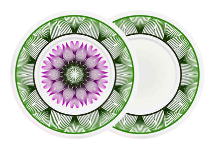 Decorative plate with mandala ornament in ethnic style. Fashion background with ornate dish. Vector illustration.